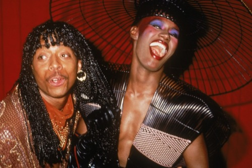 Rick James and Grace Jones, the king and queen of androgynous, hedonistic '80s funk, at the 25th Annual GRAMMY Awards in 1983 Photo: Fotos International/Getty Images