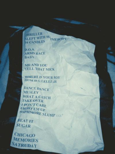 heymistyy:  Fall Out Boy set list for 2/4/13 Chicago, IL. First show back. Holy cow.