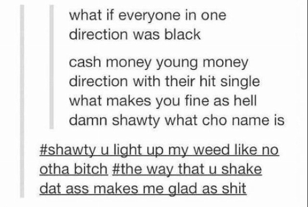 theoriginalchocolate:  Black  One Direction  HAHAHAHA