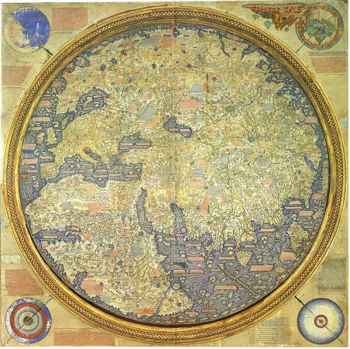"mucholderthen:  The famous Fra Mauro map of 1458. Fra Mauro wrote on the map that he was aware of Ptolemy`s Geographia but thought his time had more knowledge than Ptolemy. According the Italian geographer Ramusio (1485-1557)[29] the Fra Mauro map was ""diligently drawn and copied from a most beautiful and very old nautical map and a world map that had been brought from Cathay by the most honourable Messer Marco Polo and his father."""