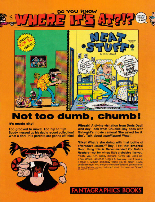 Promotional ad for Neat Stuff by Peter Bagge, 1986.