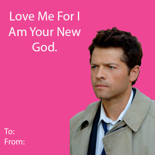 mao-meow:  So, I made some (not-so-great) Castiel Valentine's Cards. I've never used photoshop before so it was kinda hard for me >.< I hope you enjoy them, and Happy Valentine's Day!  ♥ ♥ ♥