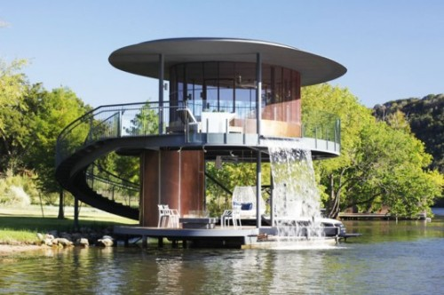 homedesigning:  Bercy Chen Studio's Cylindrical Boat House in Austin Has its Own Waterfall