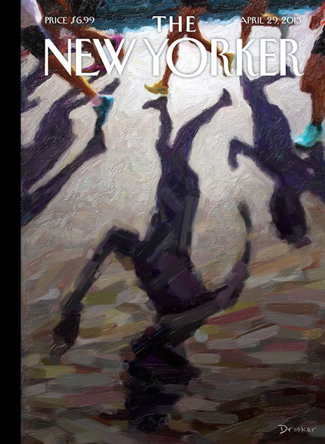 "Moved by the cover of the upcoming New Yorker, ""Shadow Over Boston.""  ""A bomb at a marathon, right at the finish line of a festive occasion—it seemed almost like a mixed metaphor, incongruous and absurd,"" artist Eric Drooker said. ""Those are just the things that flashed through my head as I started painting."" Locked down in Cambridge today, I can't think of a better way of describing this madness."