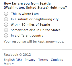 I don't think I really want to tell Facebook this bit of information right now. Next, is it going to ask me what I'm wearing?