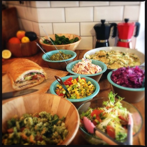 A beautiful, colourful lunch prepared by our newest staff member, Imogen.  (at Barlow & Fields)