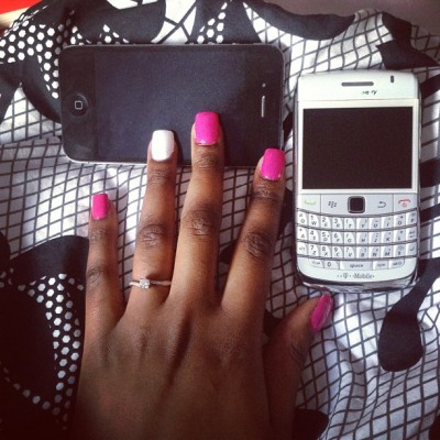 Getting my nails done is now a must!!! 💅😉 #freshnails #bridetobe #pinknails #whitenails #iphone #Blackberry #blackandwhite
