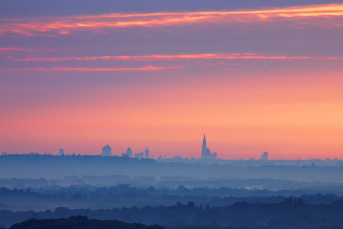 London Skyline from Hogs Back, Guildford by craig.denford on Flickr.