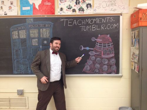 "I decided to submit one of my classroom's chalkboard drawings for ""the doctor who tumblr asked for my autograph"" thing! My students have been posing for their own pictures in front of this all day."