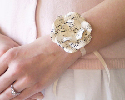 """Sheet Music"" Wrist Corsage by smilemercantile"