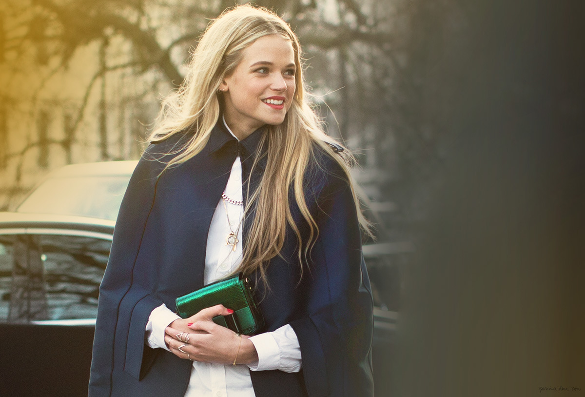Actress Gabriella Wilde wearing the Odette NY Klaia Cage Ring during London Fashion Week. Photographed by Garance Doré.
