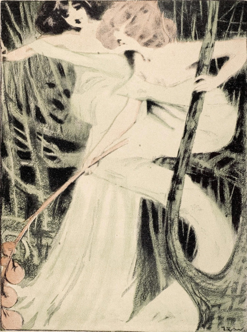 zombienormal:  Dryads, J.R. Witzel, Jugend magazine, 1899. I think this is my all-time favorite Witzel illustration. Via.