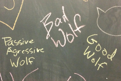 From the chalkboard wall at my place of work. We're such a bunch of nerdy delinquents.