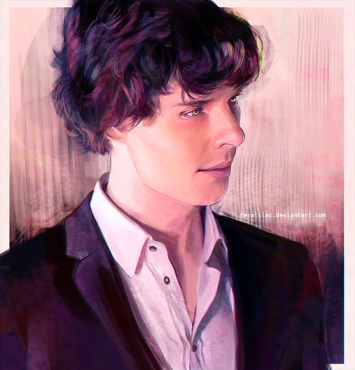 dropsofamortentia:  sherlockspeare:  teralilac:  Sherlock portrait by me     This is gorgeous *____* The hair is superb!!! Fantastic work *__*