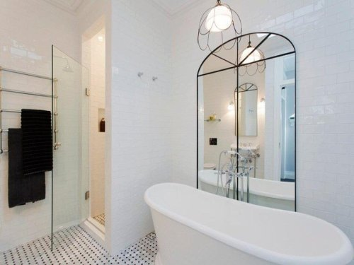 mirror and glass in the bathroom (via desire to inspire)