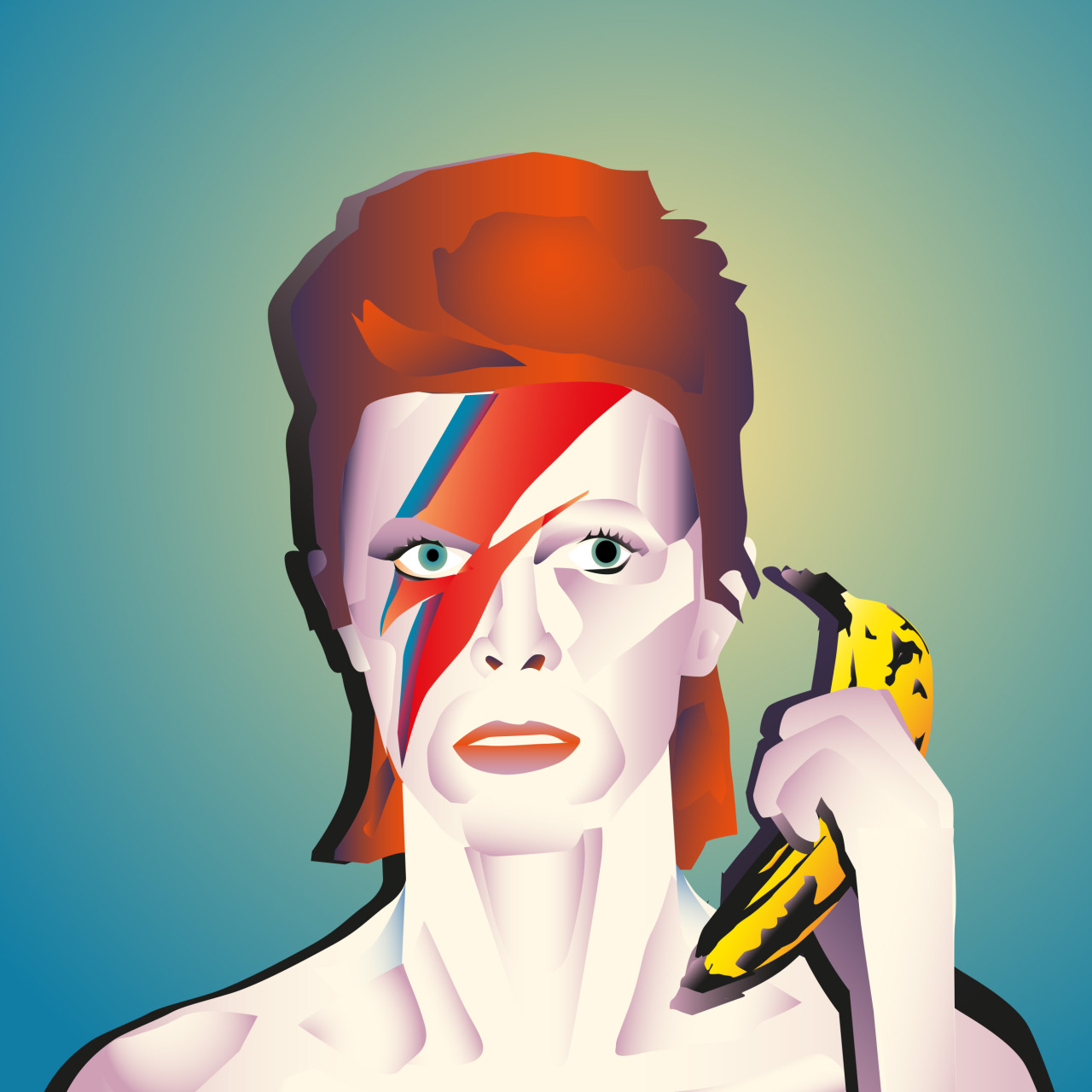 David Banana Bowie. Illustration by Benjamin Cullimore