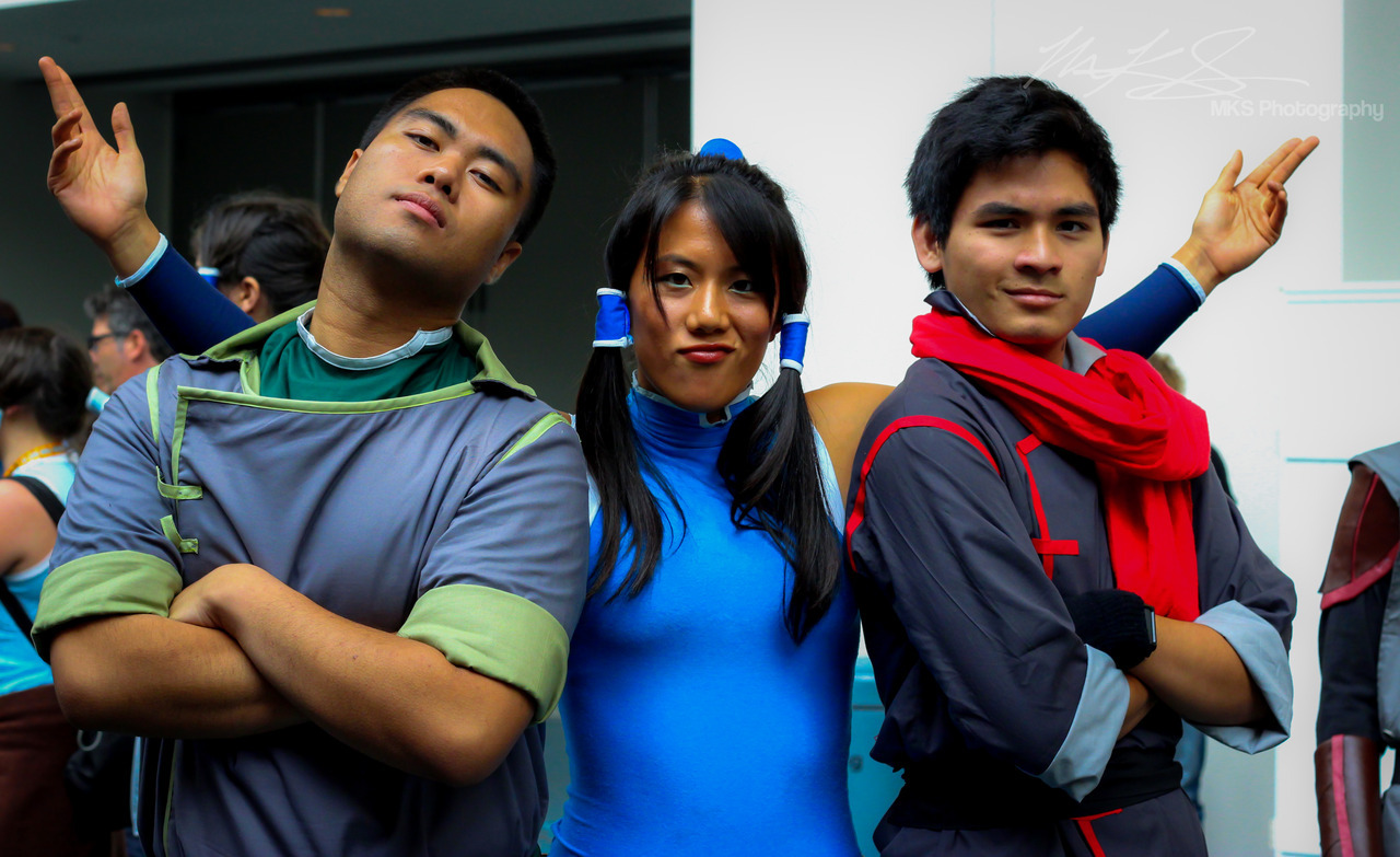 Korra, Mako, and Bolin.  SDCC '12.