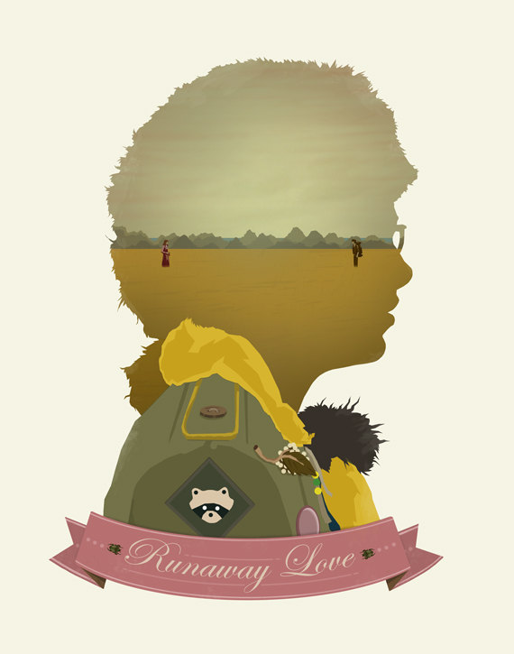 """Runaway Love"" Moonrise Kingdom Art Print Artist Michael Rogers brings us an awesome piece of Moonrise Kingdom art. Moonrise Kingdom stands as my 2nd favorite Anderson film, behind Rushmore for those curious. I loved everything about it and it was tied with Beasts of the Southern Wild last year as my favorite film(s). I have a deep love for all things Wes Anderson, even going as far to use him as inspiration for the majority of films I make. I love his visual style and his quirky humor and has funny yet a little sad stories. As a result of this admiration, I find myself collection Anderson items and placing them around my room. This art piece will look perfect on my wall of framed Wes Anderson prints. This print is available to purchase on Michael Rogers' Etsy. If Wes Anderson isn't your style, he also has numerous other awesome prints for sale. Check It: More Gorgeous Art on AlbotasBuy It: Moonrise Kingdom on Blu-ray"