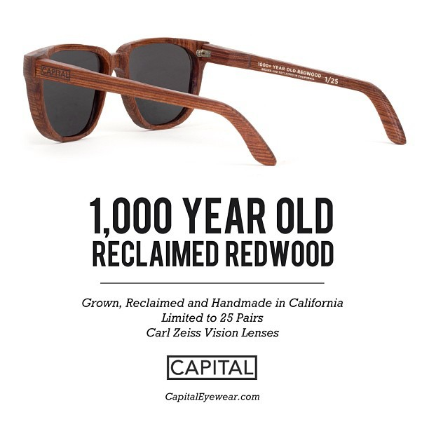 And here they are!  Our newest #limitededition sunglasses made from #reclaimed 1,000 year old #california #redwood. (at Capital Eyewear)