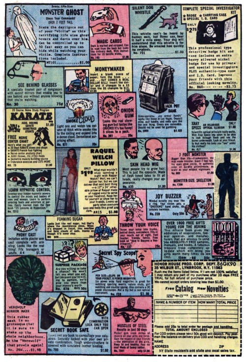 I love these old full page ads from older comics. So many things I neeeeed. Especially that Raquel Welch pillow! From Justice League of America Volume 1, #98.