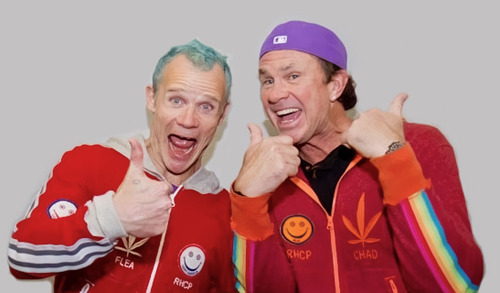 Flea and Chad Smith during the Red Hot Chili Peppers' Induction into the Rock And Roll Hall Of Fame on April 14th, 2012.