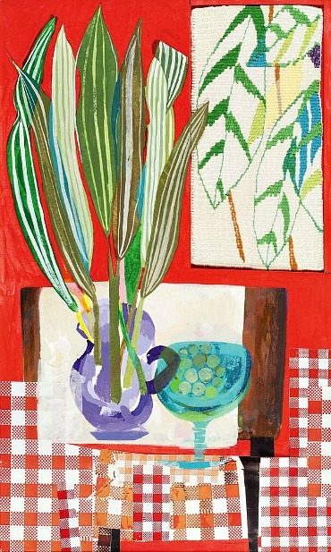 stilllifequickheart:  Barbara Brash Still Life with Tapestry  1989