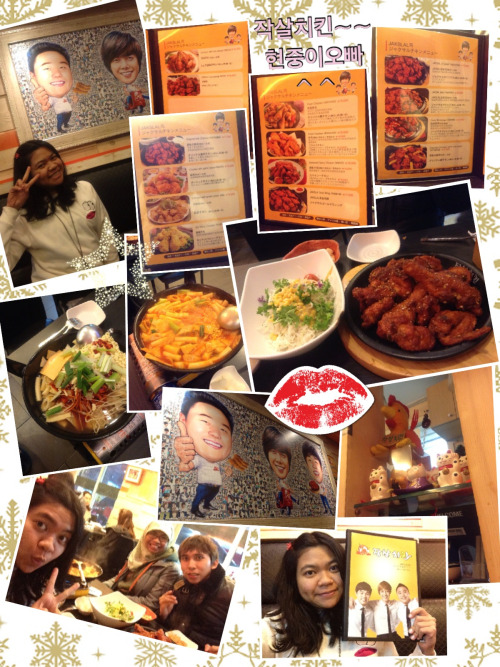 Visiting my abang KimHyunJoong chicken resto in seokchon Jamsil. I planned to go visit this resto since allkpop wrote news that KHJ did dish washing n serving customers by himself. I did googling in never n found out that it has several branches, in Jamsil, Isu, and even near MBC Ilsan. A right,I haven't mentioned the name yet~~ the name of this chicken house is jaksalchicken 작살치킨.. You can check more info in their official website here (jaksal.com)  Abang built this resto with his two friends,you can see abang n his friends' faces on the resto logo n menu book. If you remember one variety show last year when KHJ brought chickens n some friends came, that was this jaksal chicken. The day before I'm going back home I went to Jamsil branch with other JalanJalanKpop admins. I chose to go to this branch because it was d first branch n I read an article stated that around 200japan fans were waiting for abang near his fan meeting time last year.  Frankly speaking,the place wasn't as big as I expected. There are only less than ten tables inside. It was easy to find this resto because The location is near exit 7 seokchon station line 8. The detail map n more stories u could read in my second book #promo 쿠킹 기대해주세용~~  We ordered the most famous menu which are the original jaksal n cheese toppokki..I like the spices from chicken n the toppokki sauce..ah,while waiting they gave us some rice snack n also served d main menu with fresh salad..nyam!! after eating I took a time to take some pics with abang KHJ caricature ^^  Next month when I am returning to Korea, I ll visit the wax museum in Busan to meet abang KHJ statue kkk~~till that time!!