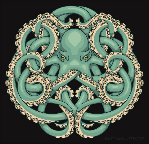 jadafitch:  Octopus Emblem T-Shirt Design.  Green is the winner!  View and buy this design on a variety of tees and other products at http://www.cafepress.com/jadafitch/9940159