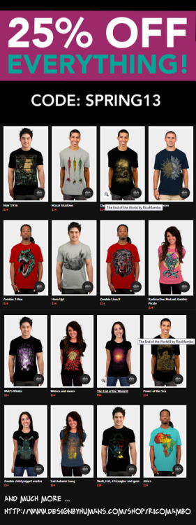 25% OFF EVERYTHING !!!!! Guys and Girls Tees! http://www.designbyhumans.com/shop/RicoMambo  pic.twitter.com/ty4sMTApmX