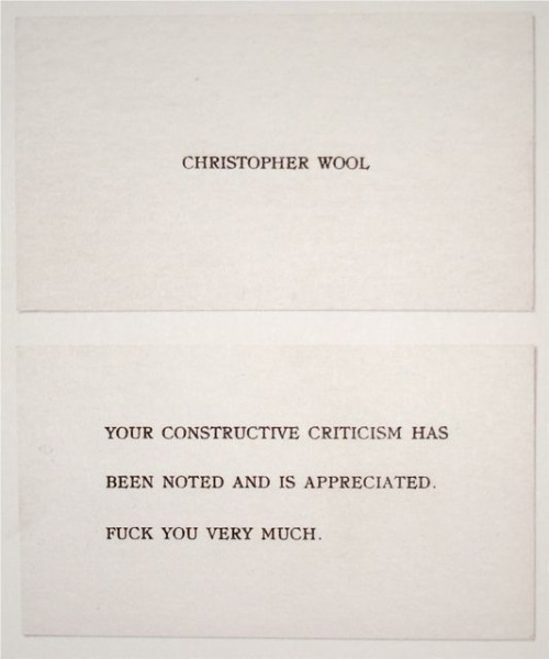 bobbysgarage:  bobby's garage: Christopher Wool - Studio Card, 1988  Spot on