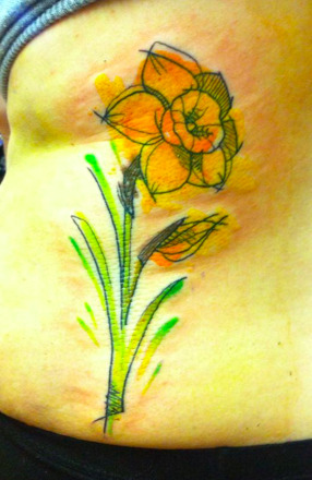 Abstract daffodil tattoo.  Jessi James 2013.