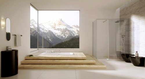 homedesigning:  Bathroom With Large Windows