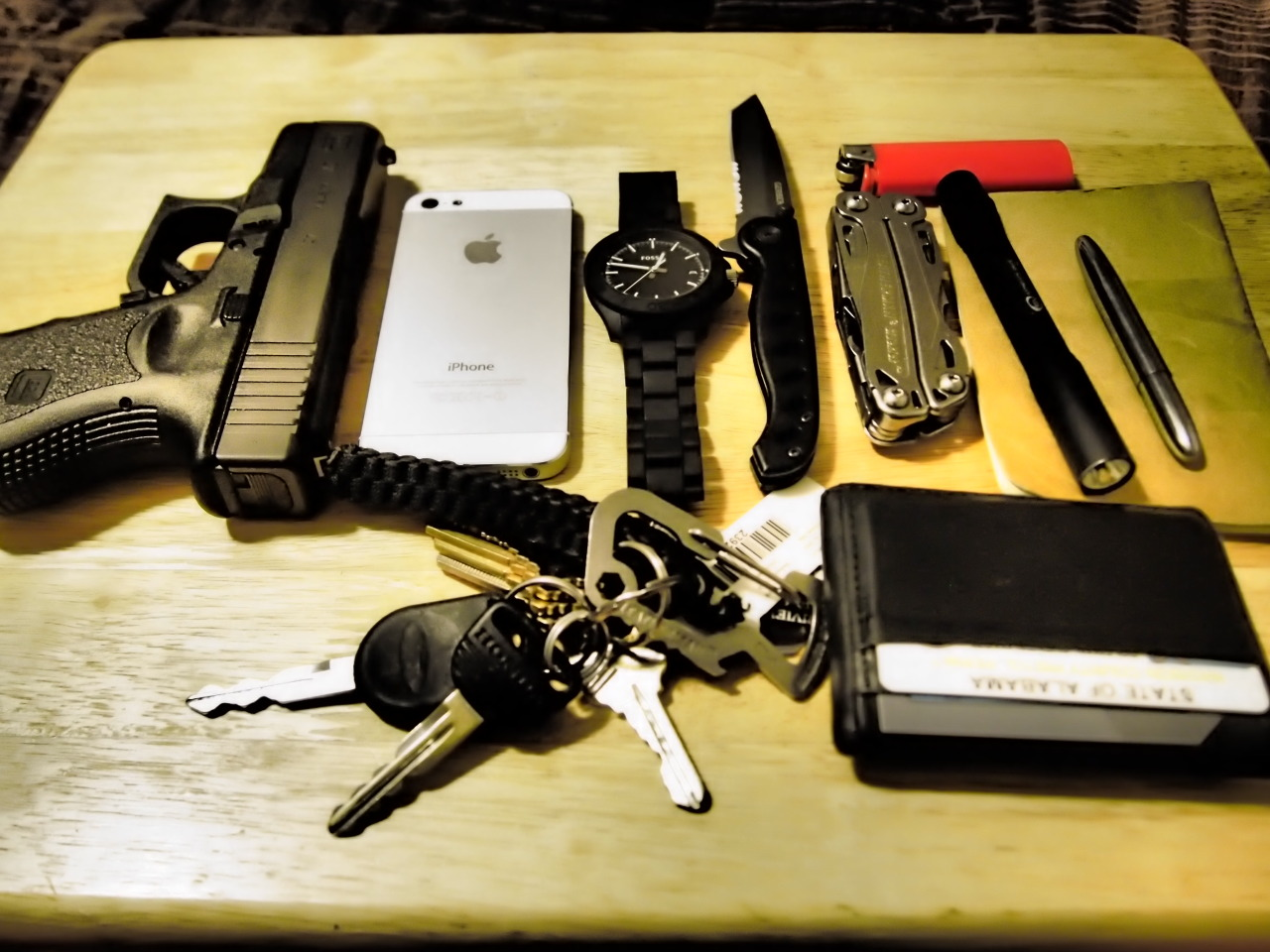 My everyday carry for work and personal Submitted By: bexsquizet  Glock 27 - If I am at work its in my 5.11 bag if I am not its on me at all times iPhone 5 - Use it more as a mp3 player, gps, and facebook device more than a phone Fossil Watch - Shop Amazon - I only wear it on my off days or if I am not cooking at my job and more managing, stays in my left pocket  Gerber Evo - Purchase on Amazon - Nice little knife use it for opening boxes at work does the job, it is clipped on my right pocket  Leatherman Sidekick - Purchase on Amazon - favorite multi-tool has what I need on it and has a pocket clip can't beat it. I keep this clipped in my right pocket StreamLight Stylus Pro - Purchase on Amazon - Everyone has it great flash light fits in my pocket next to my knife I like a low profile clipped in my right pocket  Fisher Space Pen - Purchase on Amazon - I thought I would have lost it weeks ago but still haven't I love it. If and when I loose it I will buy another one asap. This stays in my left pocket with my iphone. Moleskin Pocket Notebook - Purchase on Amazon - I keep this in my back pocket with my wallet comes in handy I take more notes now and keeps me organized at work when I was just using my iphone for notes. Keys - on the clip I keep my work keys separated from my car and house key nothing fancy also stays in my left pocket  Generic Money Clip / Card Holder - from wall mart stays in my back pocket with the notebook  Bic Lighter - its always in a different pocket