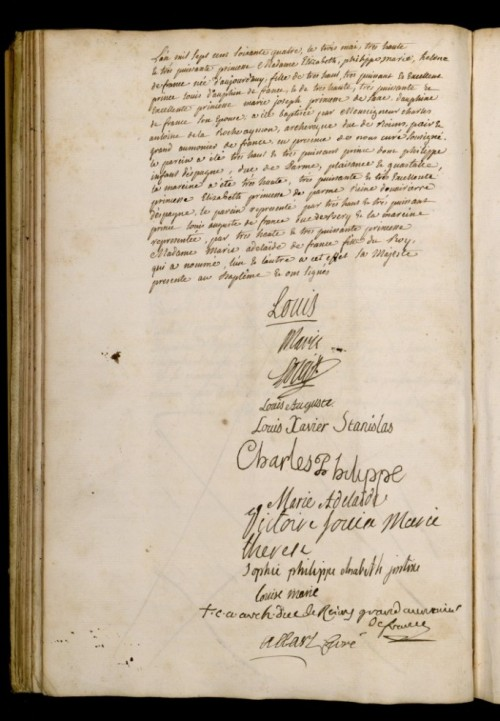 vivelareine:  The baptism certificate of Madame Elisabeth, sister of Louis XVI, from 1764. It has been signed by members of the French royal family.