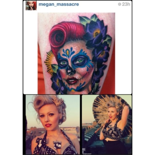 @megan_massacre used the images I took of @brynnaashley_creepyb modeling the vampira top i made for reference on a tattoo she did recently it looks amazing! And just like her! #meganmassacre #bowsbysamantharose #etsy #ink #tattoos #pinupgirl