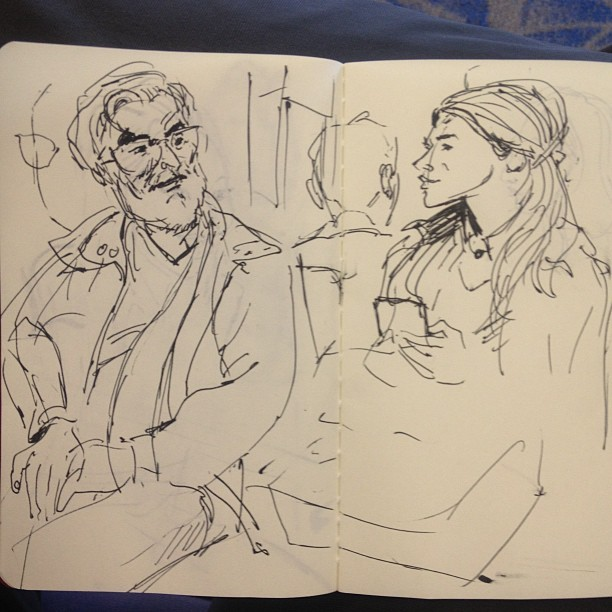 Fellow #travelers #sketch #sketchbook #travel #drawing #ink #moleskine #airport (at Charlotte Douglas International Airport (CLT))