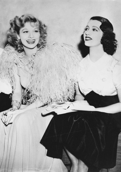 ilovelucyball:  Lucille Ball with Lily Pons on the set of That Girl From Paris (1936)