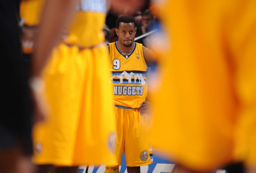 nba:  Andre Iguodala of the Denver Nuggets gets ready for play to resume versus the Portland Trail Blazers on January 15, 2013 at the Pepsi Center in Denver, Colorado. (Photo by Garrett W. Ellwood/NBAE via Getty Images)