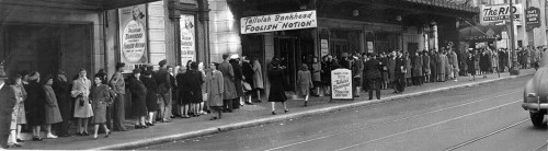 Great 1940's street scene: San Franciscans queued up outside Curran Theater where Tallulah Bankhead stars in Foolish Notion. Via SFPL & tenderloingeographicsociety