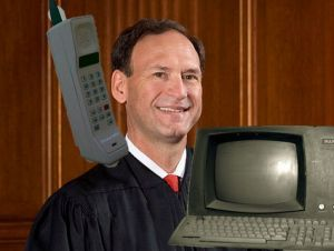 "Justice Alito finds an excuse not to rule on same-sex marriage: it's too new. ""You want us to step in and render a decision based on an assessment of the effects of this institution which is newer than cellphones or the internet?"" Well. 8 Things Justice Alito Has Ruled on That Are Newer Than Cellphones and the Internet"