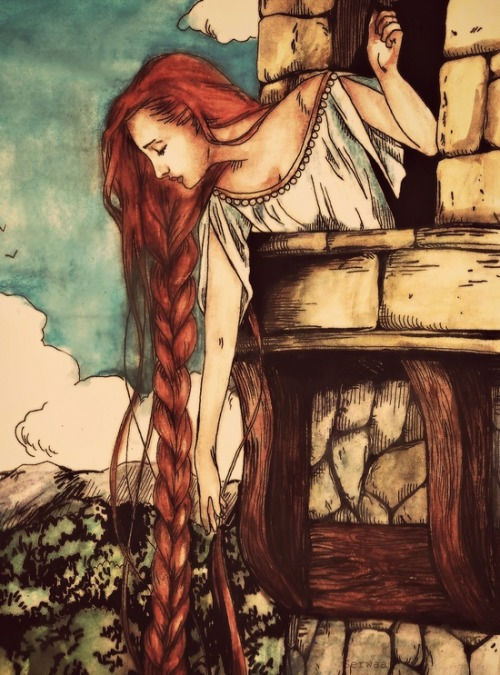 "thebirdandthebat:  fleurdulys:  Rapunzel - unknown  GPOY Also, took two minutes to google this image so it could be credited to the artist instead of ""unknown."" It's called ""Persinette"" and it's by Serwaa. The artist's DeviantArt page and Tumblr."