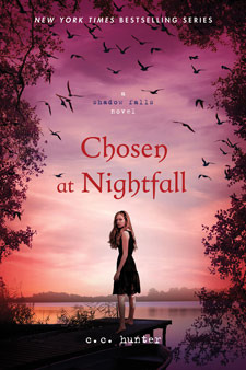 Chosen at Nightfall- C.C. Hunter  I love the Shadowfalls Series, don't get me wrong, but Chosen at Nightfall felt just a little too saccharine for me. I love Kylie and the entire crew, I like the direction that the plot goes, I like the subplots and I like the threat of Mario that looms, but there wasn't a single twist I didn't see coming. While most of this review might seem negative, I don't want that to take away from the series overall which is still delightful. Frankly, tons of people will LOVE this last book for precisely the reasons it annoyed me.   The ending, which many will love, ties everything up in a nice happy bow. I'm not really a nice happy bow kind of girl. I'd like a hint of reality please. While I'm happy with the way Kylie deals with the problems facing her and the decisions she makes, it all seems to end just too perfectly. I also felt (and this is a big no no for me) preached at on certain subjects, like protected sex and pregnancy. I probably could have let it slide but it was repetitive and constant in a way that it hadn't be in previous books and it just irked me. And lastly, there were points where I thought the writing was so basic it felt like a completely different author. There's a place where she describes what Kylie and Lucas are wearing and it's just that. It felt weird and awkward and strange and not at all like what the writing in the first 4 books was like. Bottom line: the series is great, the last book is just okay. Still worth the read though.  Overall: B  You can find Chosen at Nightfall here.