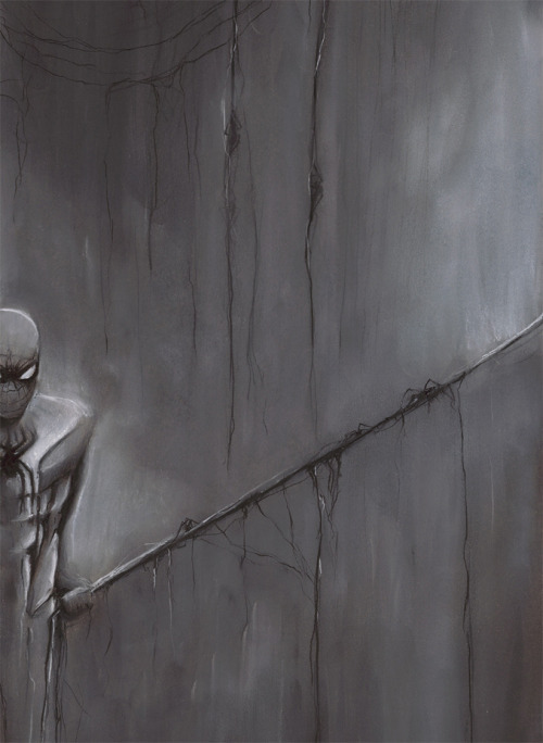 "Spider-Man: ""Guilt"" by Will Pigg 18x24 charcoal and white pastel Artist: Website / Etsy / Facebook / Tumblr"
