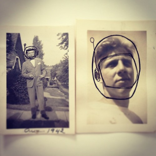 Spacemen #helmet #photo #oldphotos #astronaut #art #pen
