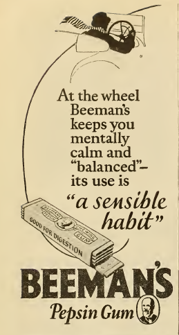 ~ Beeman's Pepsin Gum, Photoplay Magazine, 1924