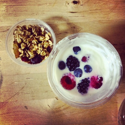 He made breakfast today. ;) 😘 #breakfast #fruit #yumm #yogurt #morning #red #fruits #food #healthy