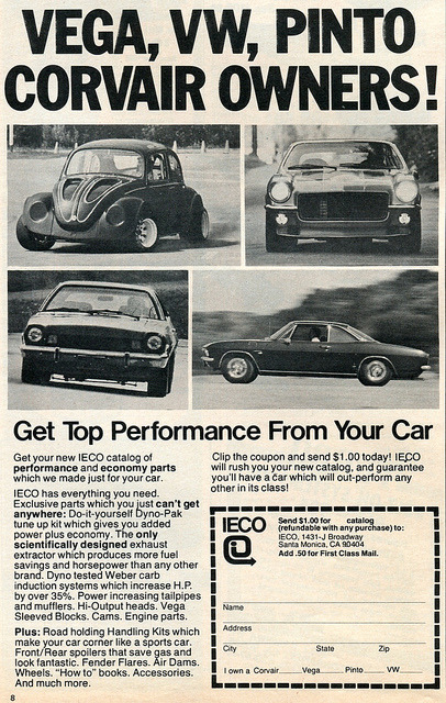 IECO Performance Parts - Vega - VW - Pinto - Corvair Car And Driver Advertisement March 1978 by SenseiAlan on Flickr.IECO Performance Parts - Vega - VW - Pinto - Corvair Car And Driver Advertisement March 1978