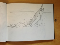 Sequential Illustration - Ernest Hemmingway The old man and the sea - Initial ideas in sketchbook, rough pencil drawings to find best solution to narrate the story