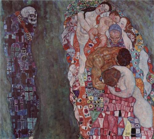 theartistsmanifesto:  Gustav Klimt, Death and Life, 1908, oil on canvas. Klimt's allegory of life and death is not doom filled. The grim reaper figure stands alone to the side while the stronger vertical pillar of life challenges him. Death has a part in the cycle of life and death; however, he is not dominant.