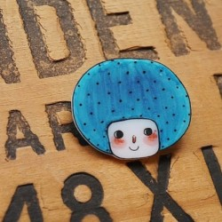 Blue Bob Girl Shrink Plastic Brooch   www.etsy.com/shop/minifanfan  #etsy #shrink #plastic #handmade #cute #wearable #brooch #blue #bob #girl